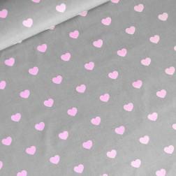 Růžová srdíčka na šedém podkladě