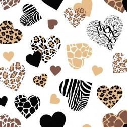 Valentýnské srdce hnědo-béžové na bílém podkladě