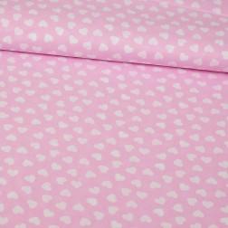 Bílá srdíčka (2cm) na růžovém podkladě
