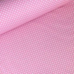 Drobná bílá srdíčka (6mm) na růžovém podkladě
