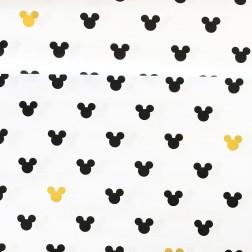 MIKI černá a žlutá na bílém podkladě vzor 566