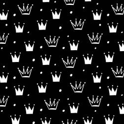 Bílé koruny na černém podkladě vzor 655