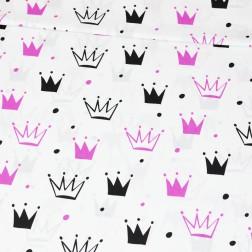 Amarantové a černé koruny na bílém podkladě vzor 654