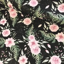 Růžové růže na černém podkladě vzor 798