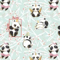Veselý panda s troškou zlata na mátovém podkladě vzor 845