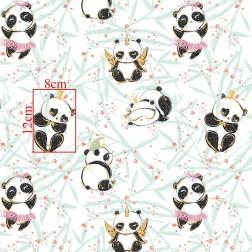 Veselý panda s troškou zlata na bílém podkladě vzor 844