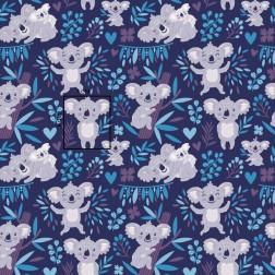 Medvídek Koala na modrém podkladě vzor 1360