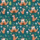 Zamilované lišky na zeleném podkladě vzor 1355