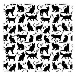 Černé kočky na bílém podkladě vzor 1475