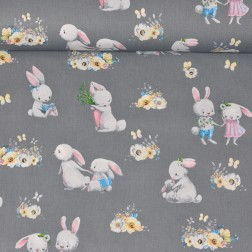 Roztomilí králíčci na tmavě šedém podkladě vzor 1559