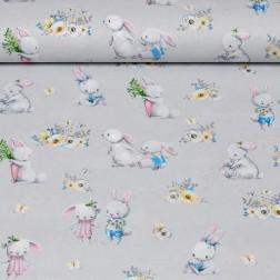 Roztomilí králíčci na světle šedém podkladě vzor 1560