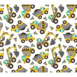 Žlutý bagr a jiné stavební auta na bílém podkladě vzor 9033