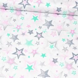Hvězdy a hvězdičky růžové - mátové vzor 741