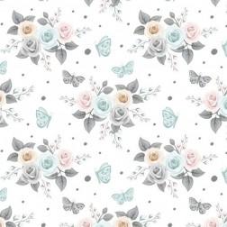 Něžné růžičky s motýlky na bílém vzor 1944