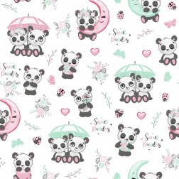 Pandí svět na bílém podkladě vzor 9011