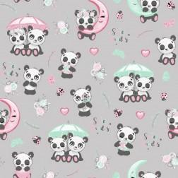 Pandí svět na šedém vzor 9012