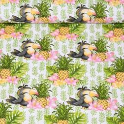 Papoušek s ananasem na bílém podkladě vzor 1961