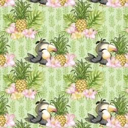 Papoušek s ananasem na zeleném podkladě vzor 1588