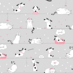 Pejsci a kočičky s růžovou miskou na šedobéžové vzor 781