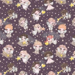 Andílci s hvězdičkami na fialovém podkladě vzor 9101