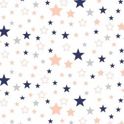 Tmavě modré, lososové a šedé hvězdičky na bílém vzor 9104