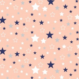 Tmavě modré, bílé a šedé hvězdičky na lososovém vzor 9105