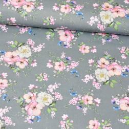 Jabloňové květy na šedém podkladě