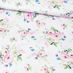 Jabloňové květy na bílém podkladě