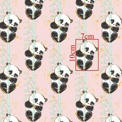 Pandy na bambusu na broskvovém (Kolekce GOLD) vzor 9108