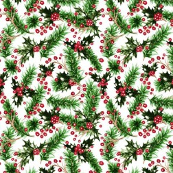Vánoční větvičky smrčku a cesmíny vzor 2123