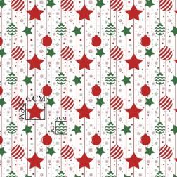 Zelené a červené vánoční ozdoby vzor 2118