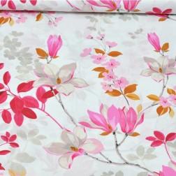 Růžové magnólie na bílém vzor 989