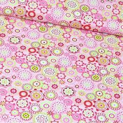 Kolečka s květy na růžovém vzor 54
