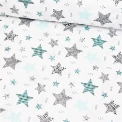 STARS šedé a tyrkysové hvězdy (cca 7,5cm) na bílém podkladě