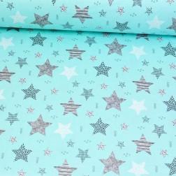 STARS šedé a bílé hvězdy (cca 7,5cm) na tyrkysovém podkladě