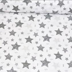 STARS šedé hvězdy (cca 7,5cm) na bílém podkladě