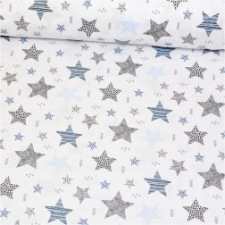 STARS šedé a modré hvězdy (cca 7,5cm) na bílém podkladě