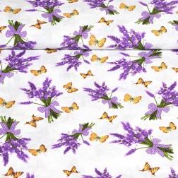 Kytice levandulí a žlutí motýli vzor 2225