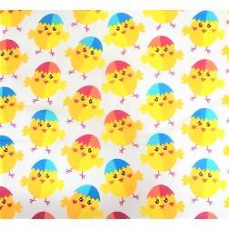 Veselá kuřátka na bílém podkladě vzor 9660