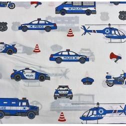 Policejní auta na bílém vzor 9663