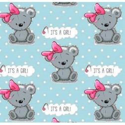 Medvědí holčička IT'S  A GIRL! na tyrkysovém vzor 5005