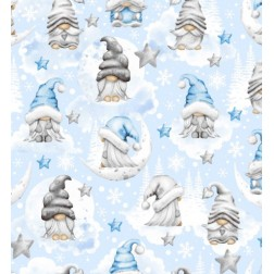 Vánoční skřítci na světle modrém vzor 2213