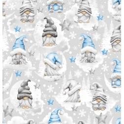 Vánoční skřítci na světle šedém vzor 2203