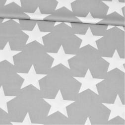 Bílé hvězdy (12cm) na šedém Z001
