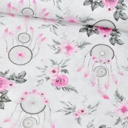 Lapače snů mezi růžemi růžovo-šedé