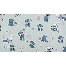 Modří medvídci s růžovým na šedém podkladě.