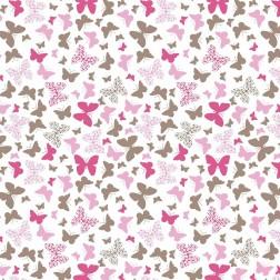 Malí růžoví a hnědí motýlci na bílém podkladě