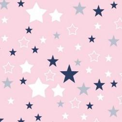 Bílé a šedé hvězdy na růžovém podkladě