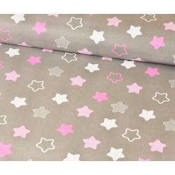 Růžové a bílé hvězdy na šedém podkladě