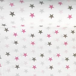Růžové a šedé hvězdy (4cm) na bílém podkladě